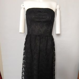 CR Strapless Black Lace Dress Size Small